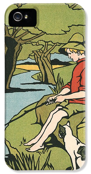 Young Boy Sitting On A Log Fishing In A Small River In The Country With His Cat IPhone 5 Case by American School