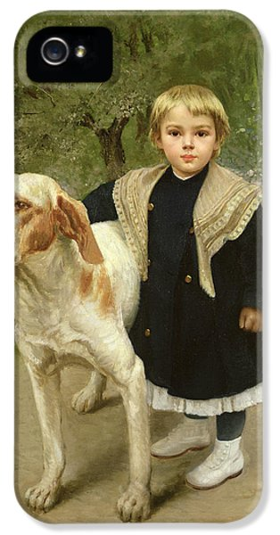 Young Child And A Big Dog IPhone 5 Case