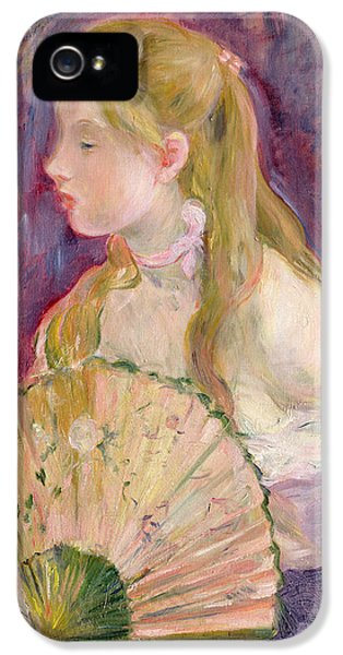 Young Girl With A Fan IPhone 5 Case by Berthe Morisot