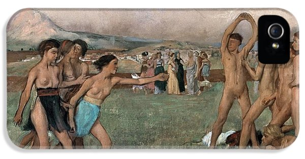 Young Spartans Exercising IPhone 5 Case by Edgar Degas