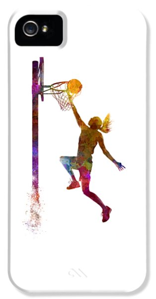 Basketball iPhone 5 Case - Young Woman Basketball Player 04 In Watercolor by Pablo Romero