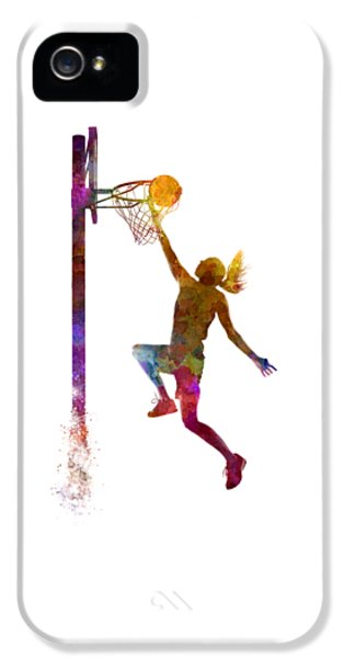 Young Woman Basketball Player 04 In Watercolor IPhone 5 / 5s Case by Pablo Romero