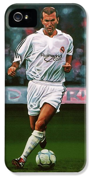 Zidane At Real Madrid Painting IPhone 5 Case by Paul Meijering