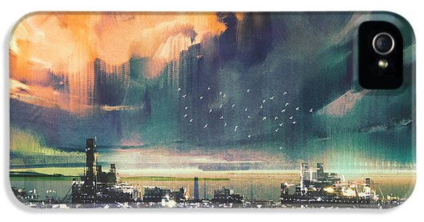 Town iPhone 5 Case - Landscape Digital Painting Of Sci-fi by Tithi Luadthong