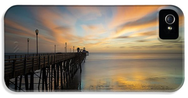 Pacific Ocean iPhone 5 Case - Oceanside Pier Sunset by Larry Marshall