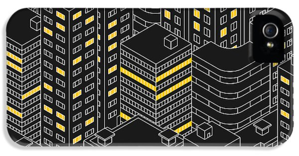 Office Buildings iPhone 5 Case - Abstract Black Seamless Pattern by Svetlana Avv