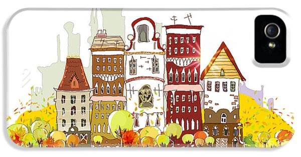 Office Buildings iPhone 5 Case - Autumn In The City by Ir Stone