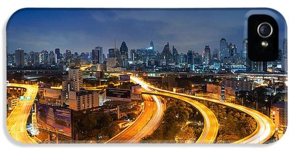 Office Buildings iPhone 5 Case - Bangkok Cityscape. Bangkok Night View by Weerasak Saeku