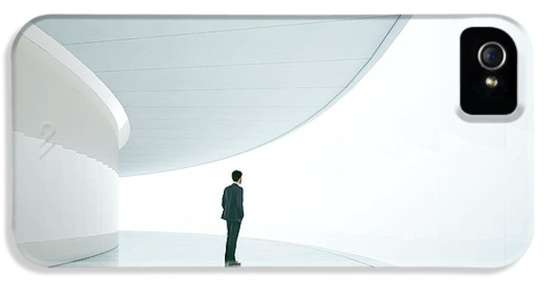 Office Buildings iPhone 5 Case - Businessman In Front Of Wide White by Sfio Cracho