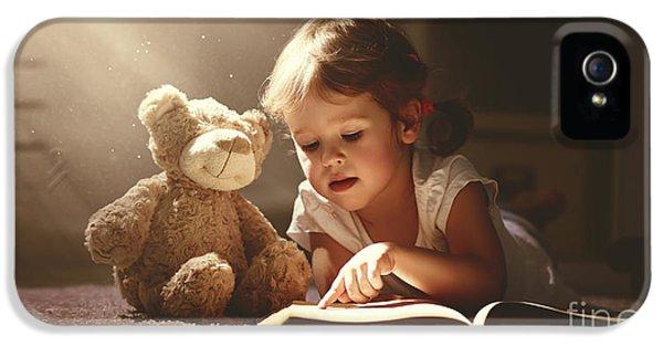 Fairy iPhone 5 Case - Child Little Girl Reading A Magic Book by Evgeny Atamanenko