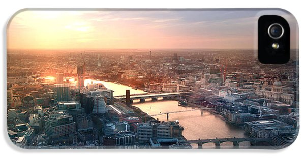 Office Buildings iPhone 5 Case - City Of London Panorama In Sunset by Ir Stone