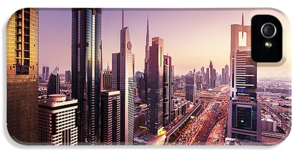 Office Buildings iPhone 5 Case - Dubai Skyline In Sunset Time, United by Iakov Kalinin