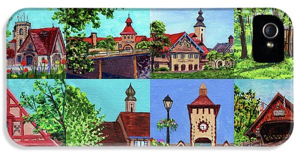Clock iPhone 5 Case - Frankenmuth Downtown Michigan Painting Collage I by Irina Sztukowski
