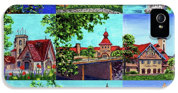 Clock iPhone 5 Case - Frankenmuth Downtown Michigan Painting Collage II by Irina Sztukowski