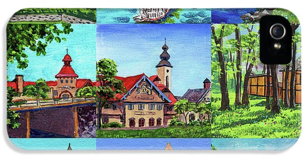 Clock iPhone 5 Case - Frankenmuth Downtown Michigan Painting Collage IIi by Irina Sztukowski