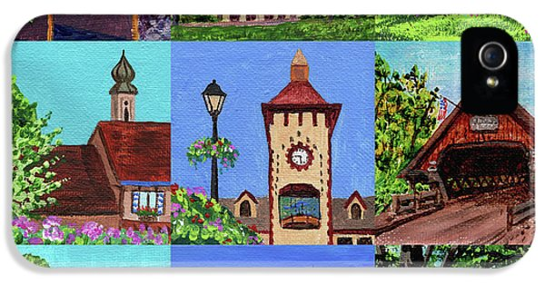 Clock iPhone 5 Case - Frankenmuth Downtown Michigan Painting Collage Iv by Irina Sztukowski