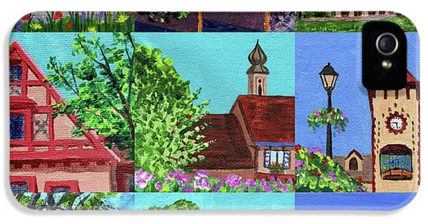 Clock iPhone 5 Case - Frankenmuth Downtown Michigan Painting Collage V by Irina Sztukowski