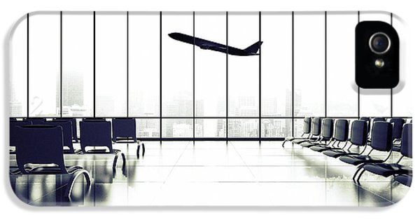 Office Buildings iPhone 5 Case - Futuristic Airport And Big Airliner In by Peshkova