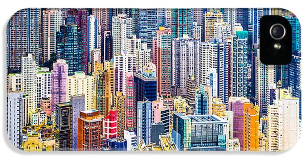 Office Buildings iPhone 5 Case - Hong Kong, China Dense Cityscape Of by Esb Professional