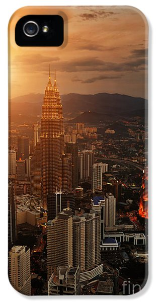 Office Buildings iPhone 5 Case - Kuala Lumpur Sunset Scene With Petronas by Vitaly Titov