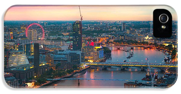 Office Buildings iPhone 5 Case - London At Sunset, Panoramic View by Ir Stone
