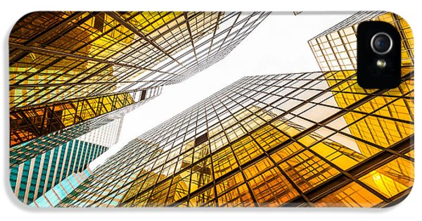 Office Buildings iPhone 5 Case - Low Angle View Of Modern Skyscraper by Zhu Difeng