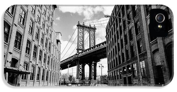 Office Buildings iPhone 5 Case - Manhattan Bridge Seen From A Brick by Youproduction