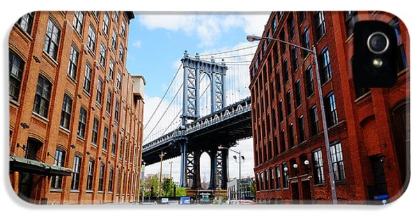 Office Buildings iPhone 5 Case - Manhattan Bridge Seen From A Red Brick by Youproduction