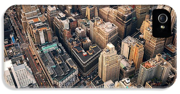 Office Buildings iPhone 5 Case - New York City Manhattan Aerial Skyline by Songquan Deng