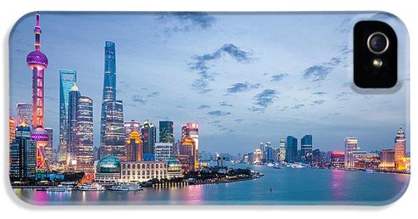 Office Buildings iPhone 5 Case - Shanghai In Nightfall, Beautiful by Chuyuss