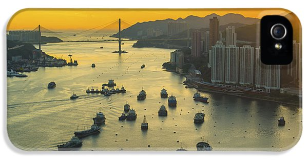 Office Buildings iPhone 5 Case - Sunset At Hong Kong Downtown by Coloursinmylife