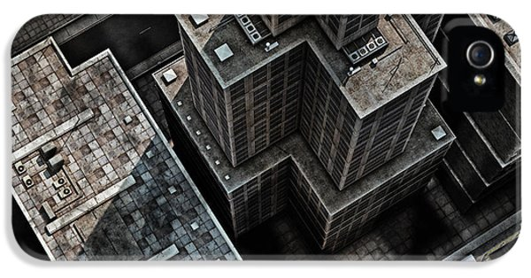 Office Buildings iPhone 5 Case - Urban Rooftops, Aerial View Of A 3d by Petrafler