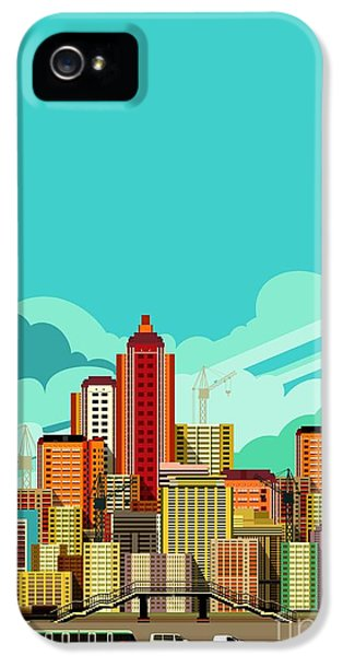 Office Buildings iPhone 5 Case - Vector Illustration Fluorescent Image by Marrishuanna