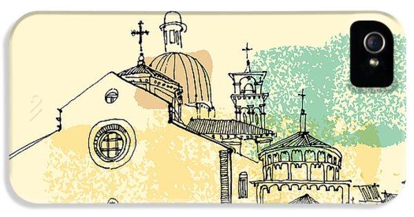 Cross iPhone 5 Case - Vector Illustration Of Padua Cathedral by Babayuka