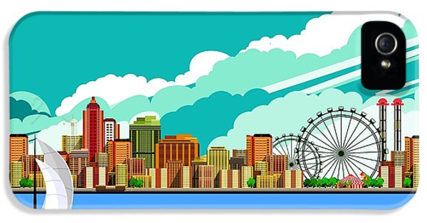 Office Buildings iPhone 5 Case - Vector Illustration Promenade Ride A by Marrishuanna