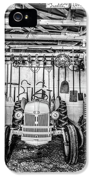 Oliver Tractor iPhone 5 Case - Waiting In The Garage Tools And Tractors In Black And White by Debra and Dave Vanderlaan