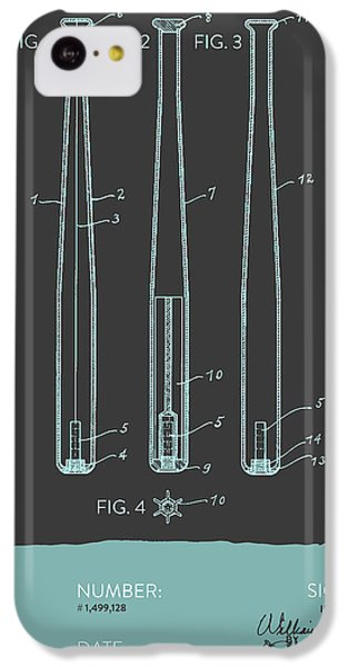 Baseball Bat Patent From 1924 - Gray Blue IPhone 5c Case