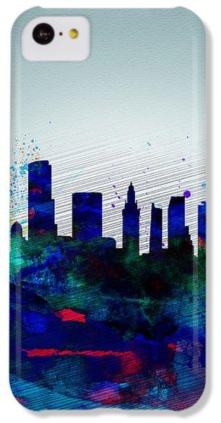 Miami iPhone 5c Case -  Miami Watercolor Skyline by Naxart Studio