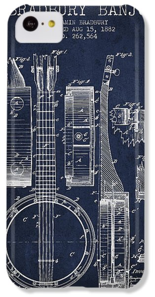 Folk Art iPhone 5c Case - Banjo Patent Drawing From 1882 - Blue by Aged Pixel