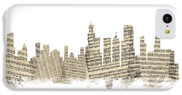 Chicago Illinois Skyline Sheet Music Cityscape IPhone 5c Case by Michael Tompsett