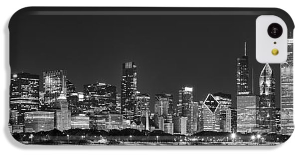 Chicago Skyline At Night Black And White Panoramic IPhone 5c Case by Adam Romanowicz