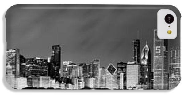Chicago Skyline At Night In Black And White IPhone 5c Case by Sebastian Musial
