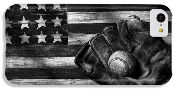 Folk Art American Flag And Baseball Mitt Black And White IPhone 5c Case by Garry Gay