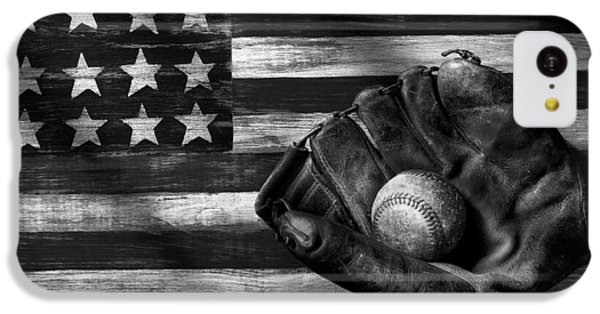 Folk Art American Flag And Baseball Mitt Black And White IPhone 5c Case by Garry Gay