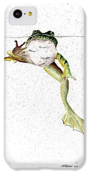 Frog On Waterline IPhone 5c Case by Steven Schultz
