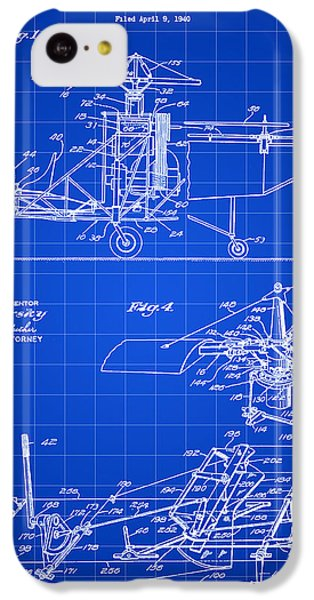 Helicopter iPhone 5c Case - Helicopter Patent 1940 - Blue by Stephen Younts