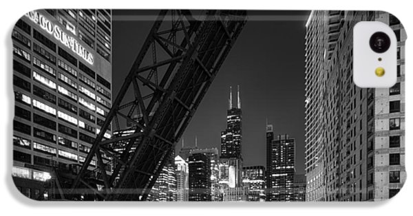 Time iPhone 5c Case - Kinzie Street Railroad Bridge At Night In Black And White by Sebastian Musial