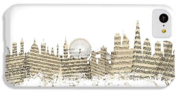 London Skyline iPhone 5c Case - London England Skyline Sheet Music Cityscape by Michael Tompsett