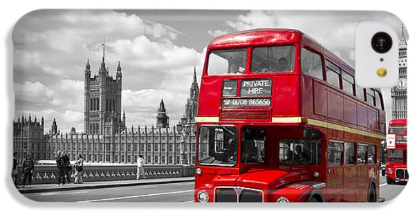 London - Houses Of Parliament And Red Buses IPhone 5c Case by Melanie Viola