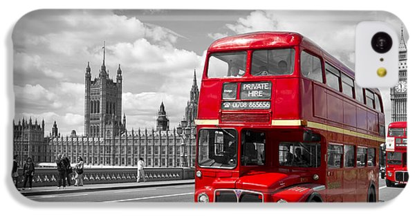 London - Houses Of Parliament And Red Buses IPhone 5c Case